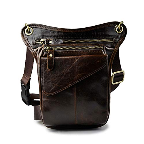 Men Genuine Leather Waist Bag Fanny Packs Motorcycle Thigh Drop Leg Belt Bag Shoulder Crossbody Bags Male Phone Pouch,Coffee