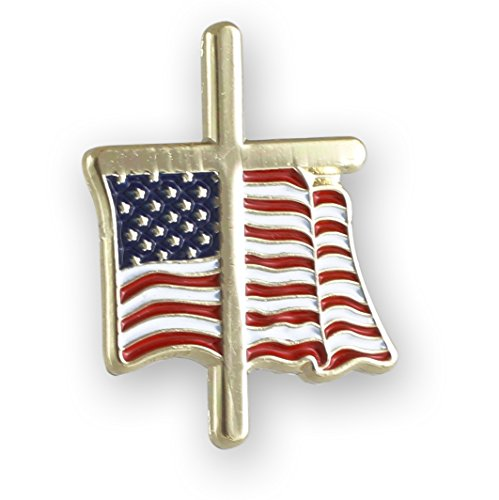 American Flag with Religious Cross Lapel Pin (5 -
