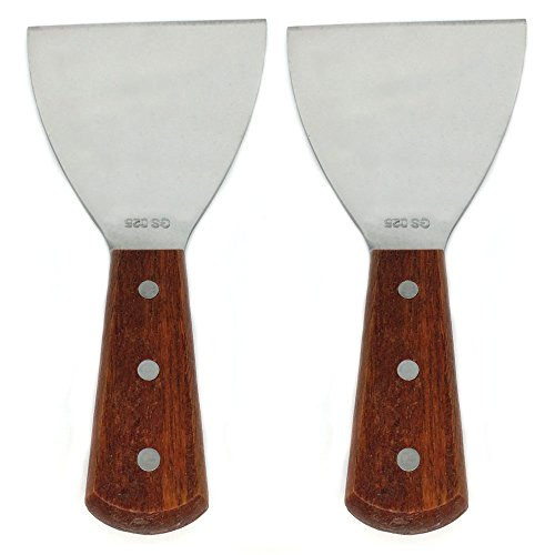 - Richohome Wood Handle Stainless Steel Blade Slant Edge Grill Scrapers, 4 by 8.5-Inch (Pack of 2)