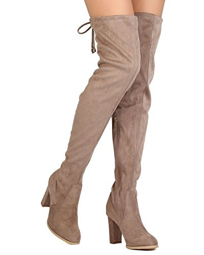adaed830886 ShoBeautiful Women s Over The Knee Boots Block Heel Drawstring Thigh High  Stretchy Boot Taupe 8.5