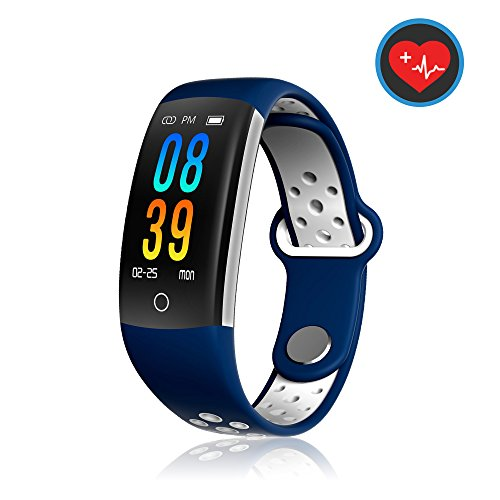 MOZEEDA Fitness Tracker Watch Smart Watch with Blood Pressure Monitor,IP68 Waterproof Activity Tracker with Calorie Counter Watch Pedometer Sleep Monitor Bands for Women Men Blue