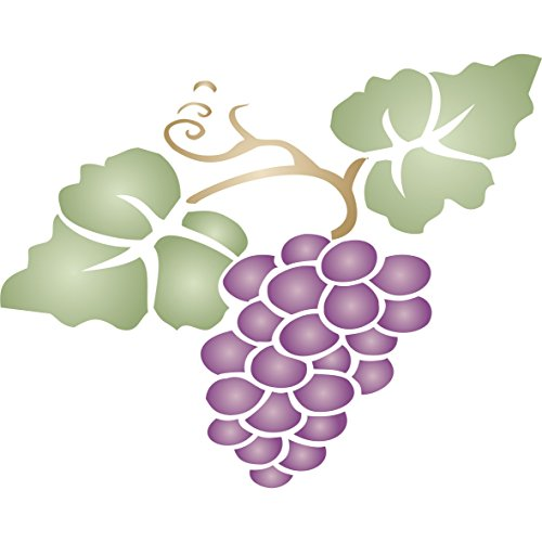 "Grape Stencil - (size 8""w x 6.5""h) Reusable Wall Stencils for Painting - Best Quality Fruit Kitchen Stencil Ideas - Use on Walls, Floors, Fabrics, Glass, Wood, Terracotta, and More…"