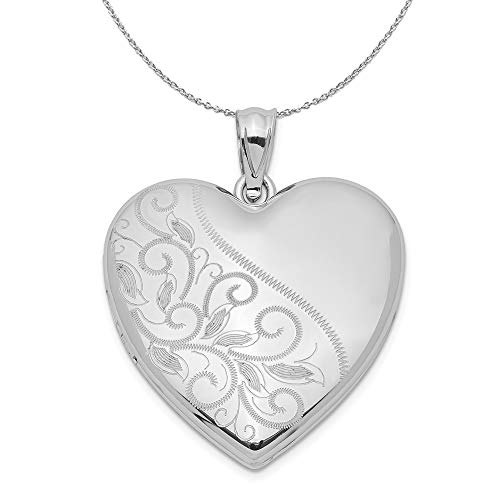 (Sterling Silver 24mm Scrolled Heart Family Locket Necklace - 18)
