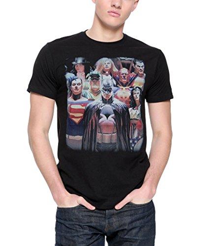 Justice League Alex Ross Heroes T-Shirt-Medium Black