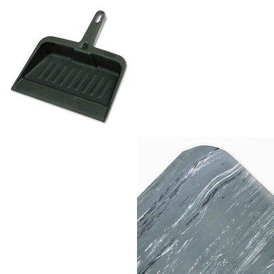 KITCWNCU3660GYRCP2005CHA - Value Kit - French Gray Vinyl Spiffy Cushion Step Mat, 3' x 5' (CWNCU3660GY) and Rubbermaid-Chrome Heavy Duty Dust Pan (RCP2005CHA) by Crown