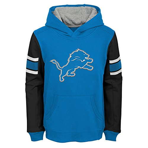 Outerstuff NFL Detroit Lions Kids & Youth Boys Man in Motion Color Blocked Pullover Hoodie, Lion Blue, Kids Large(7)