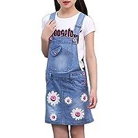Sitmptol Big Girls Summer Daisy Printed Bibs Overall Dress Shortalls with Sweet T-Shirt