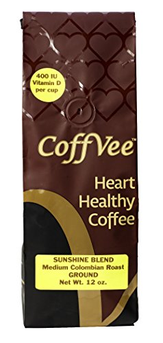 Sunshine Blend CoffVee - Coffee Infused with Heart Healthy Antioxidants and Vitamin D - Colombian Medium Roast - Ground Coffee - 12 oz