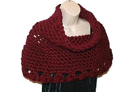 Amazoncom Womens Chunky Crochet Poncho Burgundy Cowl Neck Capelet