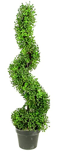 Artificial Boxwood Leave Spiral Topiary Plant Tree in Plastic Pot, Green/Two-Tone (Outdoor Spiral Topiary)