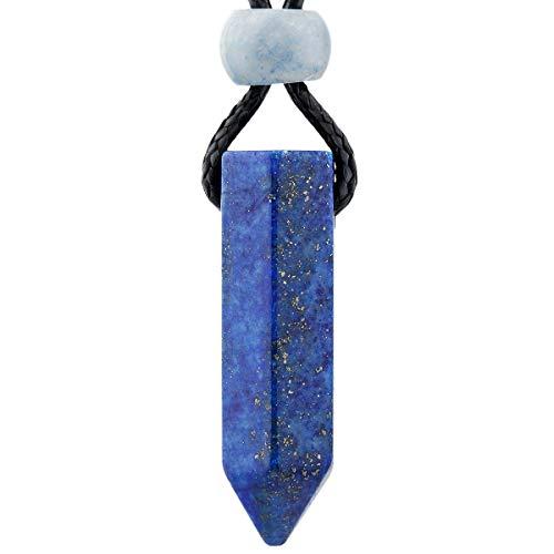 TUMEELLUWA Healing Stone Necklace Amulet Hexagonal Point Energy Chakra Pendant Crystal Jewelry Unisex Pack of 2,Lapis ()
