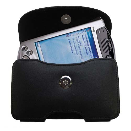 Belt Mounted Leather Case Custom Designed for the HP iPAQ h3950 h3955 h3970 Series - Black Color with Removable Clip by Gomadic