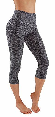 Vesi Star Women's Ombre Flexible Exercise Capri Pants(Large, Black & Grey Cp)
