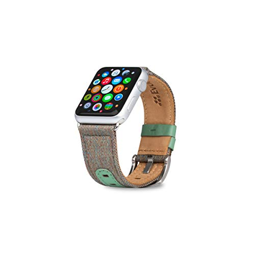 - Evutec Band Compatible with Apple Watch Band 38mm 40mm, Genuine Leather iWatch Replacement Strap Series 4, Series 3, Series 2, Series1-(Chroma Sage)