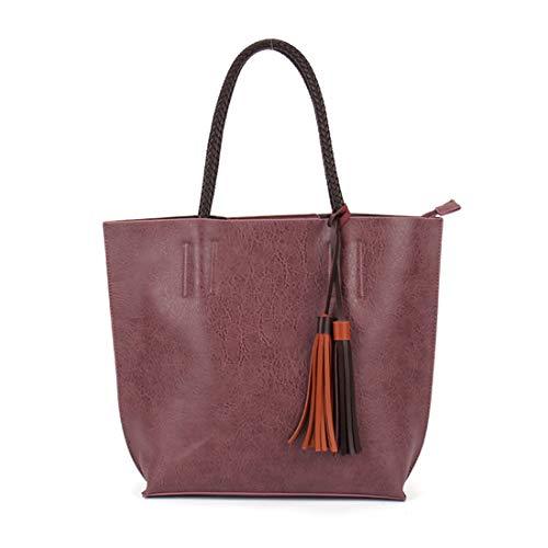 cartera Rojo Borlas bolso Luckywe de clásico negocio mensajero Mujeres colección bolso monedero Oscuro viaje 7zz4w