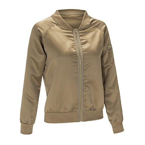 Up Manteaux Blouson Vert Minetom Bomber et Vintage L'automne Veste Biker Jacket de Baseball Arme Femme l'hiver Coat Zip BAXOpq