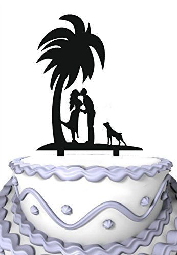 Meijiafei Kiss Bride and Groom Silhouette Under The Tree With Dog Cake Topper