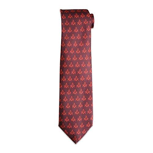 Mason Mens Necktie - Red Square & Compass Masonic Neck Tie