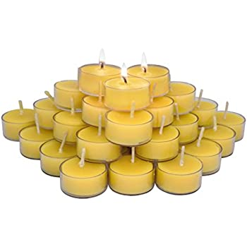 Elite Selection 36 Count 100% Pure Refined Beeswax Tea Light Candles, with Wick, Smokeless Burning