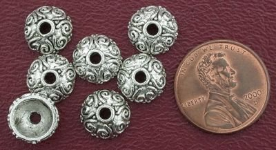 7 10mm ORNATE BEAD CAP BALI PEWTER BEADS