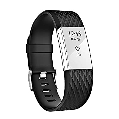 Fitbit Charge 2 Bands, AnsTOP Slicone Replacement Wristbands for Fitbit Charge 2 Shaped Like Diamond Lines
