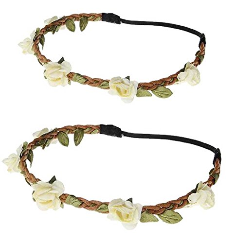 - Daisyu Baby and Mom Flower Crown Headband Parent-Child Hair Band Floral Baby Crown (Ivory)
