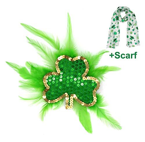 FELIZHOUSE ST. Patrick's Day Green Shamrock Feather Fascinator Sequin Hair Clip Headpiece Party Headwear for Girls Women (1)