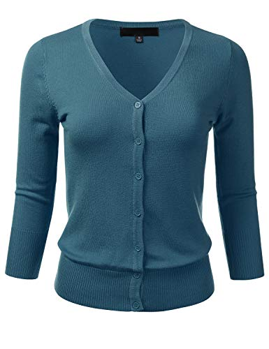 Women's Button Down 3/4 Sleeve V-Neck Stretch Knit Cardigan Sweater TEALBLUE 2X