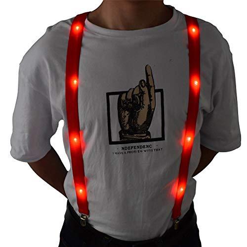 LED Glow Light Up Suspenders Trouser Braces Y Shape Suspenders (Red) + Keychain ()