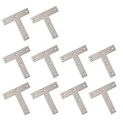 BTMB 10 Pcs Stainless Steel Steel T Shape Flat Repair Mending Plate Joining Bracket Brace 80x80mm/3.1''x3.1''