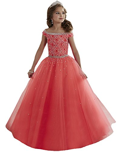 Sarahbridal Children Dresses Flower Girls Ball Gown Crystal Beads Holy...