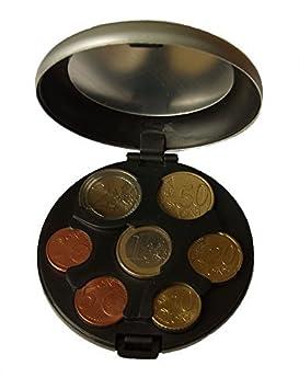 Caja MaxBox para monedas de euro, de aluminio, práctica caja para guardar monedas, color plata: Amazon.es: Oficina y papelería