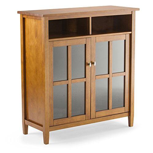 Simpli Home Warm Shaker Solid Wood Medium Storage Cabinet, Honey Brown Dining Room Square Cabinet