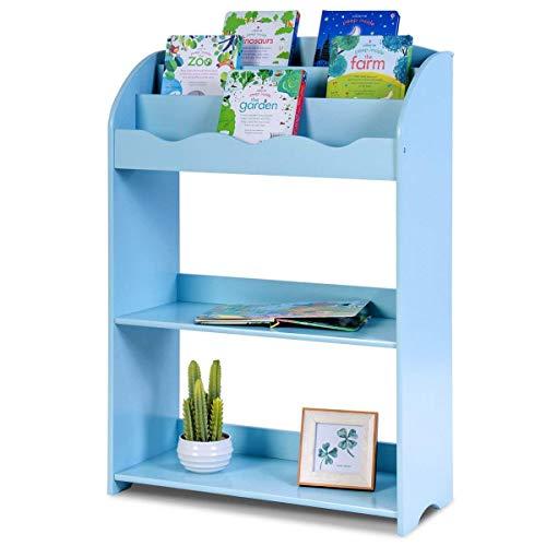 Costzon Kids Bookshelf, 3 Tiers Shelves & 2 Tires Toy Organizer Magazine Storage Rack for Kids Bedroom Playroom (Blue)