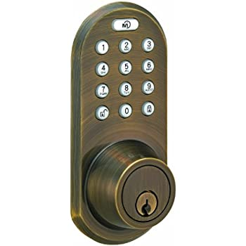 MORNING INDUSTRY INC QF-01AQ 3-In-1 Remote Control & Touchpad Dead Bolt, Antique Brass