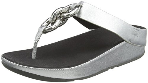 Fitflop Women's Superchain Leather Toe-thong Sandals Flip Flop, Silver, 8 M US by FitFlop