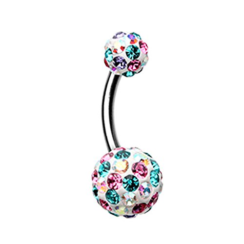Inspiration Dezigns Belly Button Navel Ring Sprinkles Multi-Gem Dot Sparkle (Aurora Borealis/Pink / Teal) ()