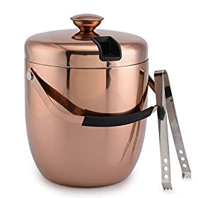 3 Liter Ice Bucket Insulated Stainless Steel Double Wall with Lid and Ice Tongs, Copper