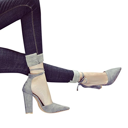 Sandal For Women,Solid Color Pointed Shoes Thick Heel Suede High Heel Sandal One Band Ankle Strap Sexy Dress Chunky Block Heel - Stilettol Women Shoes Duseedik Clearance (Gray, US:7(CN:36))