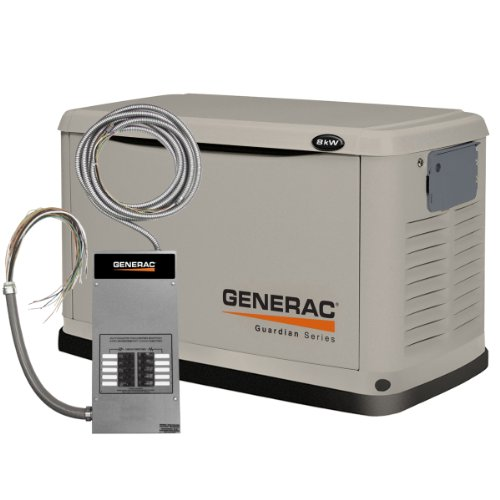 Generac 6237 8,000 Watt Air-Cooled Steel Enclosure Liquid Propane/Natural Gas Powered