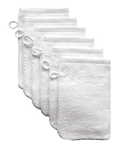 Bath Mitts - Pack of 6 - (6 x 9) European Style Washcloth by MEK (White, 6 x 9 inches)