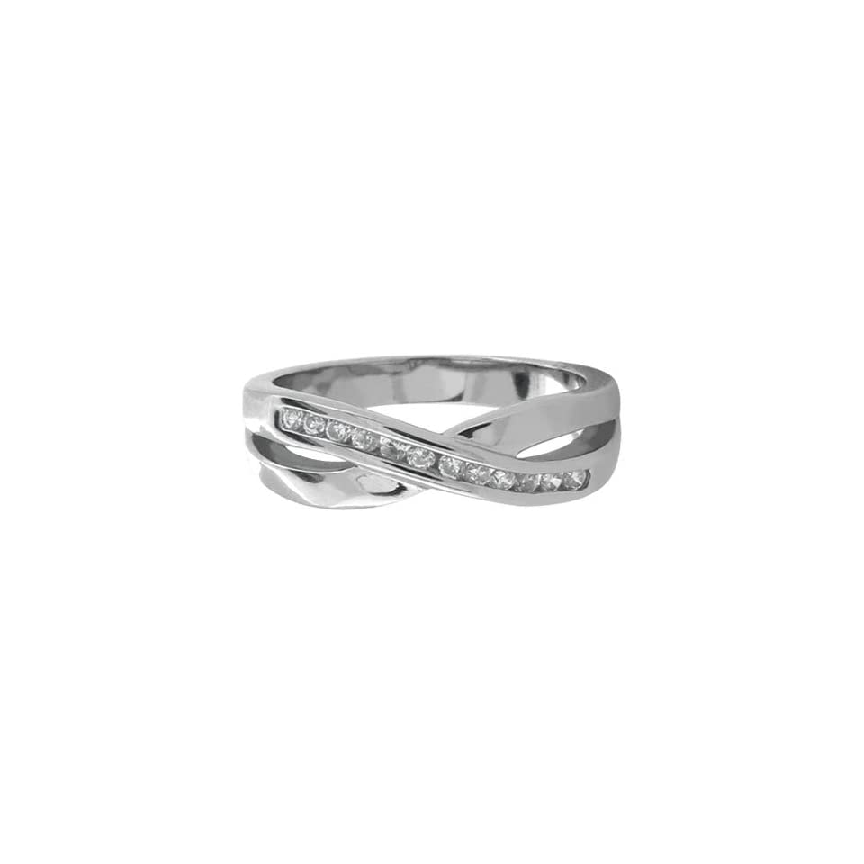 Womens Stainless Steel Ring with Crossing Lines and a Row Of CZ Stones   Size 7