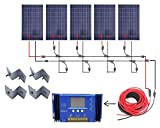 ECO-WORTHY 500 Watts Complete Solar Kit Off-Grid: 5pcs 100W Polycrystalline Solar Panel Module + 60A Charge Controller + 32 Feet Solar Cable Adapter + Y Branch MC4 Connectors + Z Brackets Mount