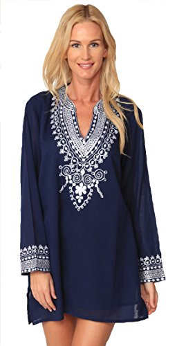 INGEAR Embroidered Blouse Boho Long Sleeve Peasant Summer Beachwear Cover Up (Large, Navy)