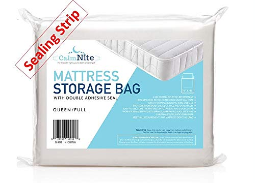 Extra Thick Mattress Storage Bag with Adhesive Seal for Moving and Storing - Clear 4 MIL Plastic - Protects Bedding and Furniture from Moisture, Dirt, Bugs and Pests - 76 x 96 Full & Queen
