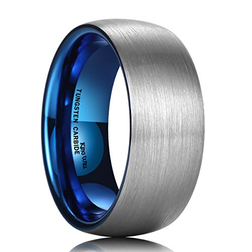- King Will Duo 9mm Blue Dome Tungsten Carbide Ring Wedding Band for Men High Polish Comfort Fit 7.5