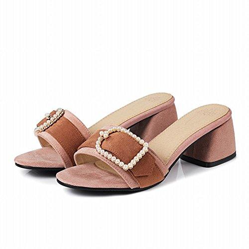 Carolbar Women's Chic Charm Beaded Block Mid Heel Sandals Slippers Pink 7iBqFWVPp