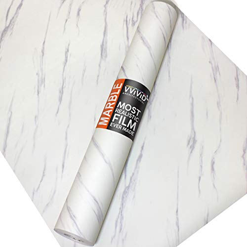 VViViD Slanted Matte Carrara White Marble Natural Texture Architectural Vinyl Sheet Film Roll (48