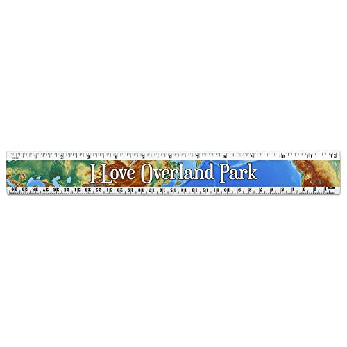I Love Heart Places N-P 12 Inch Standard and Metric Plastic Ruler - Overland Park