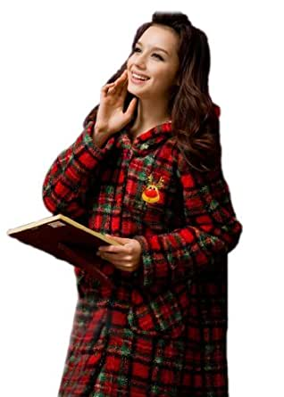 Women's Xmas Style Warmth Coral Velvet Robes - XL